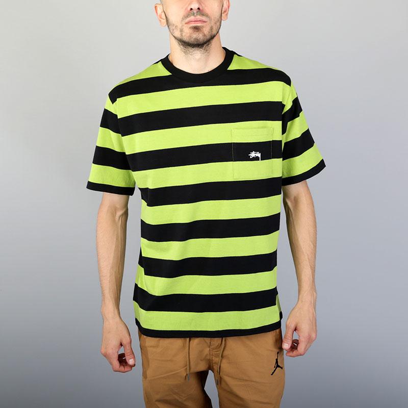 Футболка Stussy Range Stripe Pocket CrewФутболки<br>Хлопок<br><br>Цвет: Черный, салатовый<br>Размеры US: S;M;L;XL<br>Пол: Мужской