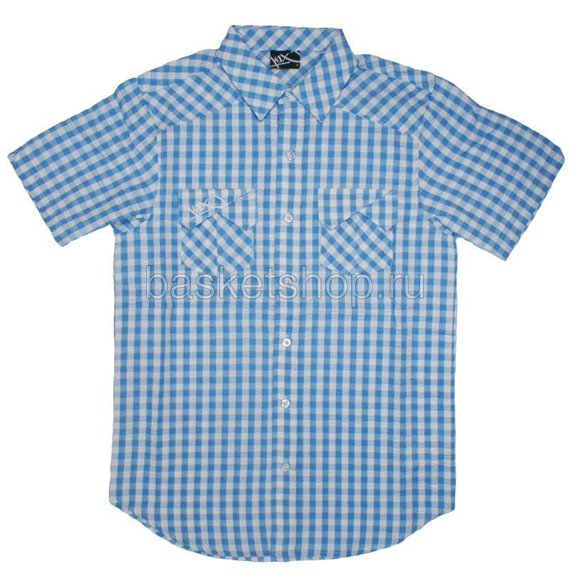 Купить мужской голубой, белый  seersucker check shirt в магазинах Streetball изображение - 1 картинки