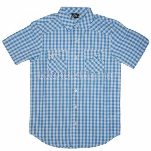 Купить мужской голубой, белый  seersucker check shirt в магазинах Streetball - изображение 1 картинки