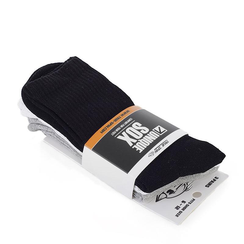 Носки 3 пары в упаковкеНоски<br>хлопок, полиэстер<br><br>Цвет: белый,серый, черный<br>Размеры : 1SIZE