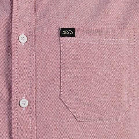 Купить мужскую розовую  рубашку oxford short sleeve в магазинах Streetball - изображение 2 картинки