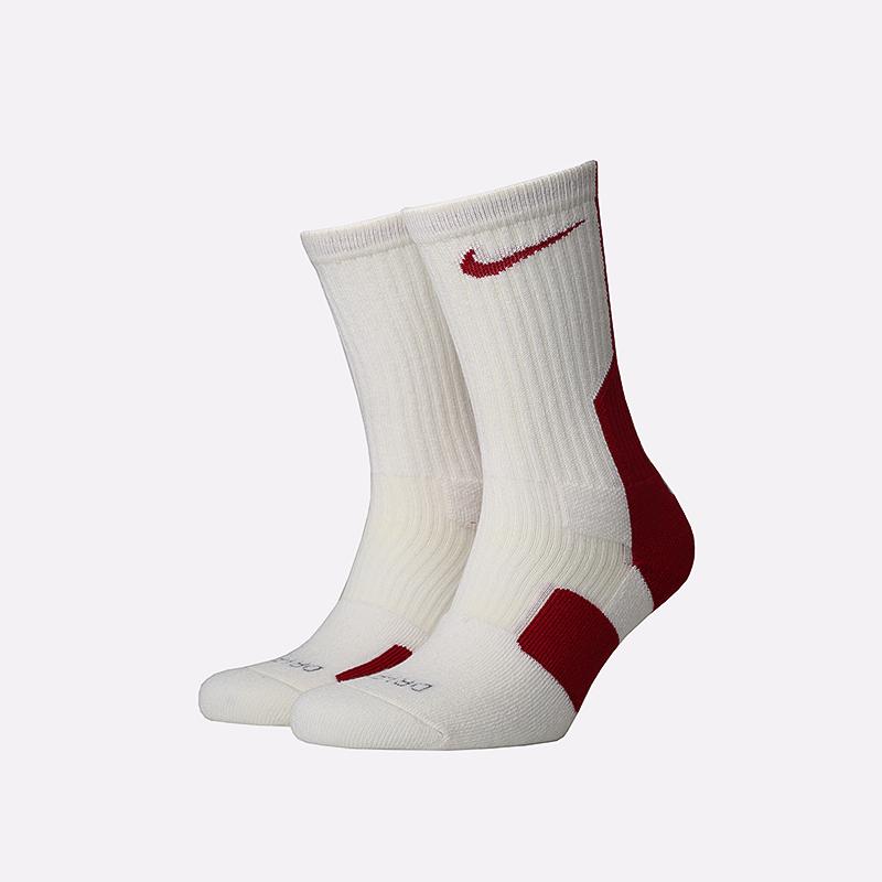 мужские белые, красные  носки nike elite SX4668-166 - цена, описание, фото 1