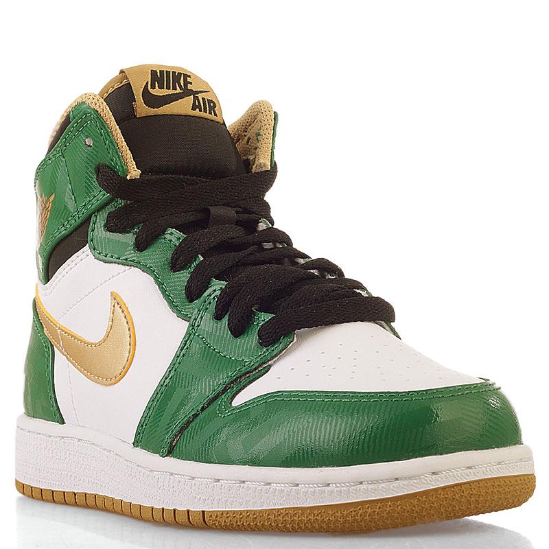 Купить детские белые, зеленые  кроссовки air jordan 1 retro high в магазинах Streetball изображение - 1 картинки