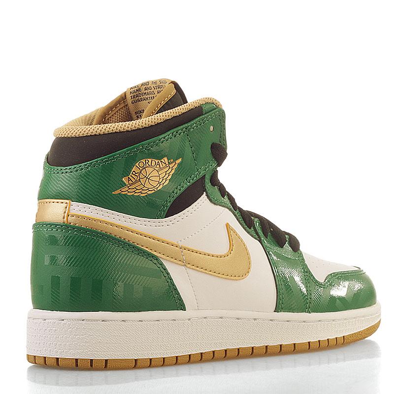 Купить детские белые, зеленые  кроссовки air jordan 1 retro high в магазинах Streetball изображение - 2 картинки
