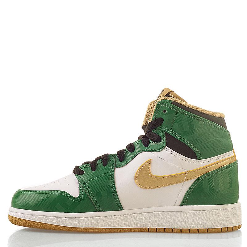 Купить детские белые, зеленые  кроссовки air jordan 1 retro high в магазинах Streetball изображение - 4 картинки