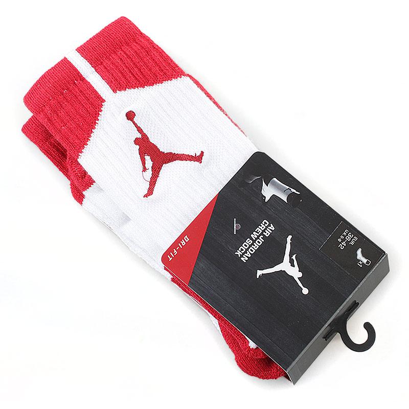 Носки Air JordanНоски<br>62% полиэстер, 19% нейлон, 17% хлопок, 2% эластан<br><br>Цвет: белый, красный<br>Размеры US: L<br>Пол: Мужской