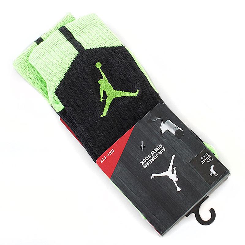 Носки Air JordanНоски<br>62% полиэстер, 19% нейлон, 17% хлопок, 2% эластан<br><br>Цвет: салатовый, черный<br>Размеры US: L;XL<br>Пол: Мужской