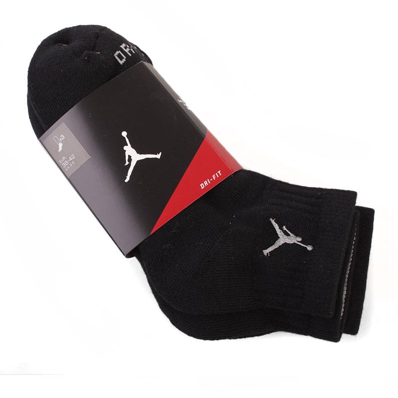 Носки Jordan Dri Fit Low Quarter 3 пары в упаковкеНоски<br>73% полиэстер, 24% эластан, 3% нейлон<br><br>Цвет: черный<br>Размеры US: S;M;L;XL<br>Пол: Мужской
