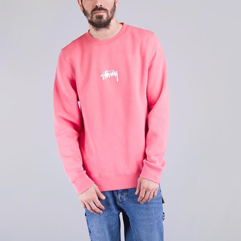 Толстовка Stussy STOCK CREWNECK PINKТолстовки свитера<br>Хлопок, полиэстер<br><br>Цвет: Розовый<br>Размеры US: S;L<br>Пол: Мужской