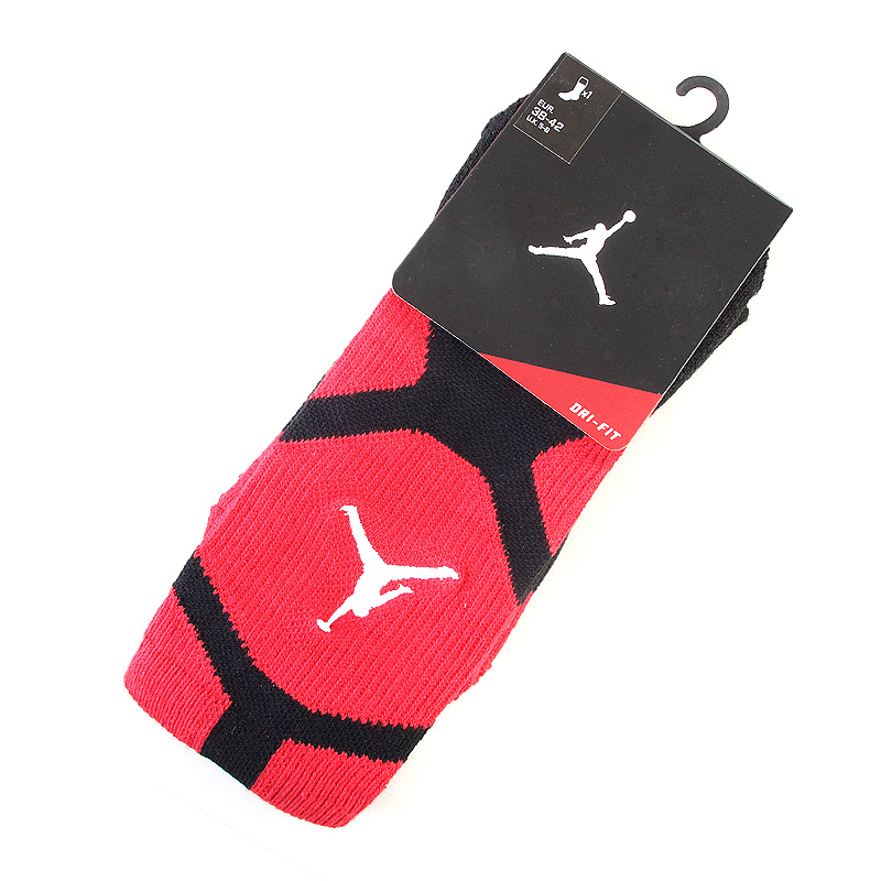 Носки Jumpman DriFit CrewНоски<br>75 % полиэстер, 22 % эластан, 3 % нейлон<br><br>Цвет: Красный, белый, черный<br>Размеры US: S;L<br>Пол: Мужской