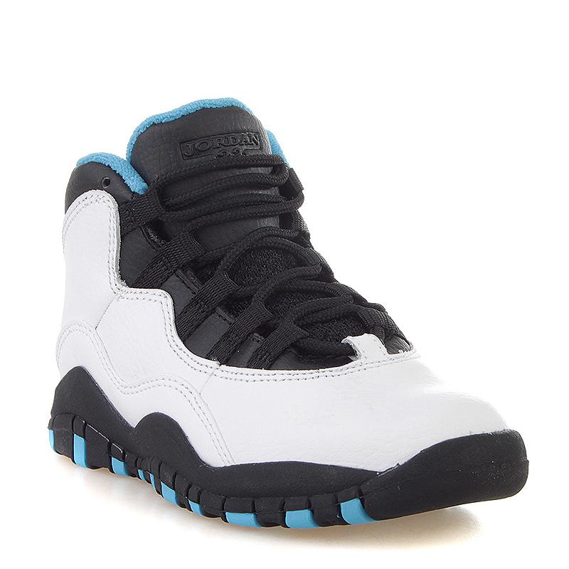 детские черные, белые, голубые кроссовки air jordan 10 retro ps powder blue  310807- 71a2fb8c3e4