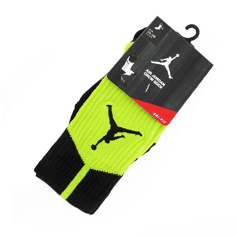 Носки Air Jordan Dri-Fit CrewНоски<br>Полиэстер, нейлон, хлопок, эластан<br><br>Цвет: Салатовый, черный<br>Размеры US: S;L;XL<br>Пол: Мужской