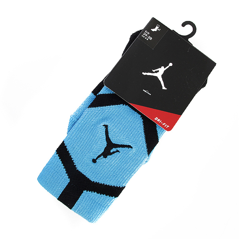 Носки Air Jordan Dri-Fit CrewНоски<br>Полиэстер, нейлон, хлопок, эластан<br><br>Цвет: Синий, черный<br>Размеры US: S;L<br>Пол: Мужской