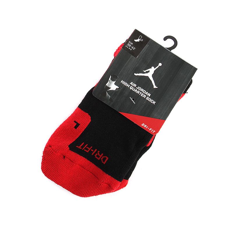 Носки Air Jordan DriFit CrewНоски<br>полиэстер, хлопок<br><br>Цвет: Красный, черный<br>Размеры US: M<br>Пол: Мужской