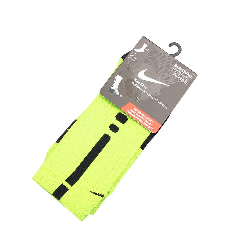 Носки Nike Elite BasketballНоски<br>нейлон, полистер, хлопок<br><br>Цвет: Салатовый, черный<br>Размеры US: M<br>Пол: Мужской