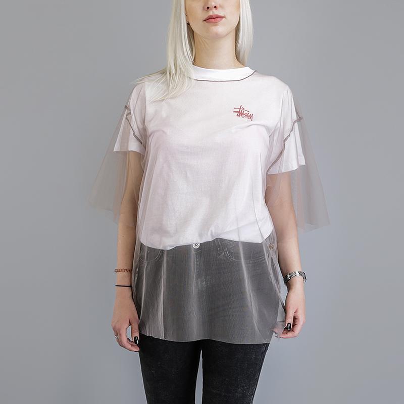 Футболка Stussy Shell Tulle ShirtФутболки<br>100% нейлон<br><br>Цвет: Бежевый<br>Размеры US: L<br>Пол: Женский