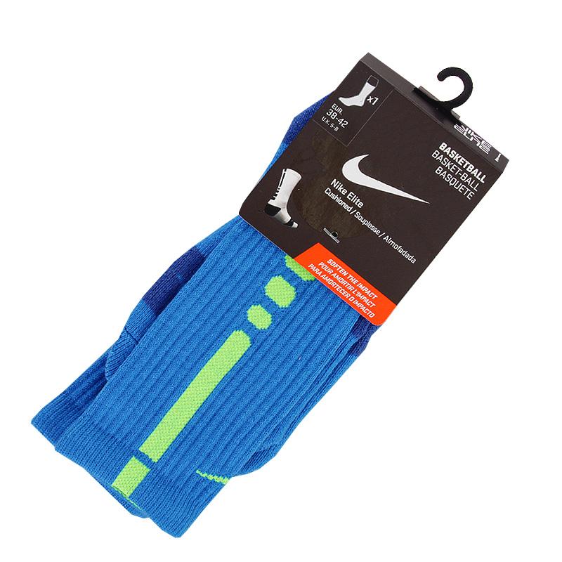 Носки Nike Elite BasketballНоски<br>хлопок, полиэстер<br><br>Цвет: Синий, салатовый<br>Размеры US: L<br>Пол: Мужской