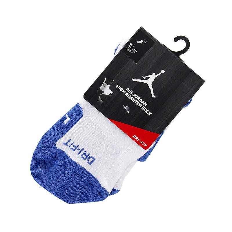 Носки Jordan DriFit CrewНоски<br>хлопок, полиэстер, нейлон<br><br>Цвет: синий, белый<br>Размеры US: L<br>Пол: Мужской