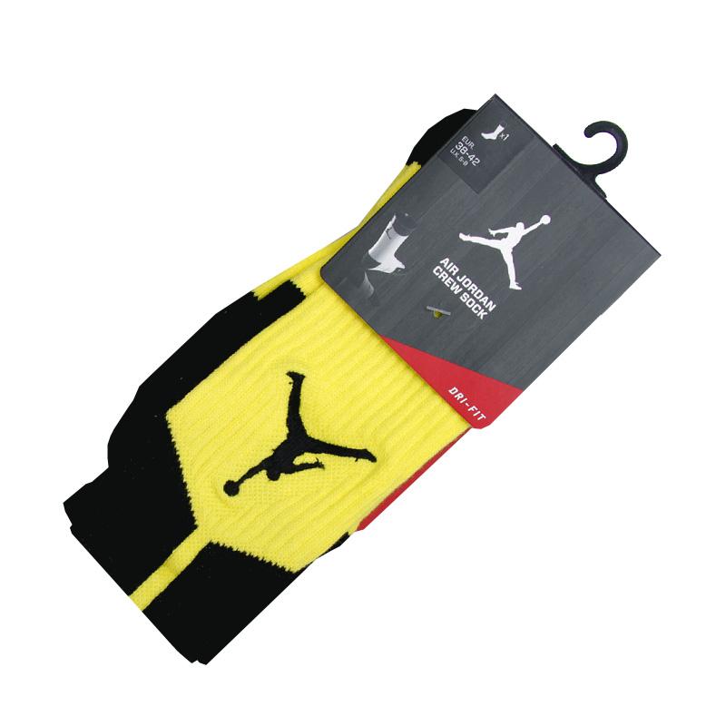 Носки Jordan DriFit CrewНоски<br>Полиэстер, нейлон, хлопок, эластан<br><br>Цвет: Черный, желтый<br>Размеры US: M;L;XL<br>Пол: Мужской