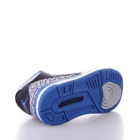 детские черные, голубые  кроссовки air jordan 3 retro bp sport blue 429487-007 - цена, описание, фото 4