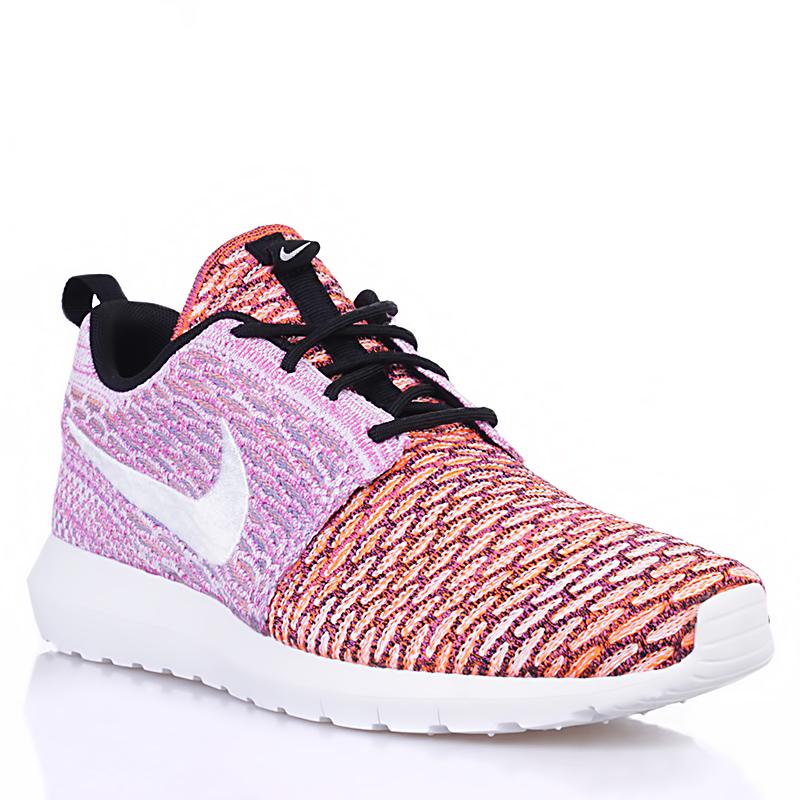 мужские белые, розовые, оранжевые  кроссовки nike flyknit roshe run nm qs multicolor 677243-100 - цена, описание, фото 1