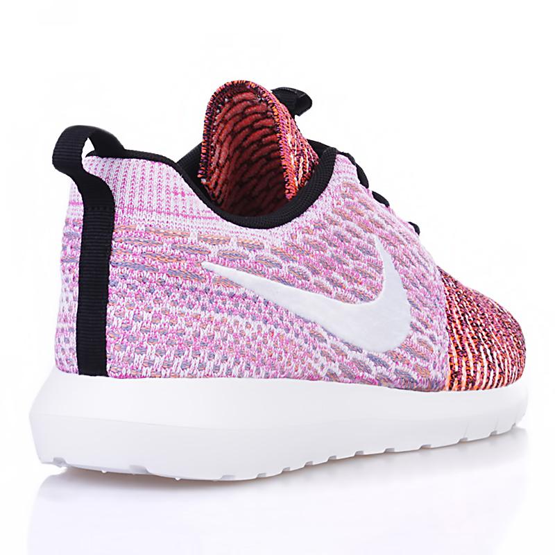 мужские белые, розовые, оранжевые  кроссовки nike flyknit roshe run nm qs multicolor 677243-100 - цена, описание, фото 2