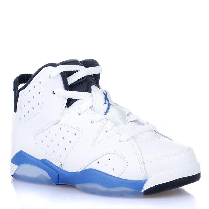 Купить детские белые, черные, голубые  кроссовки jordan 6 retro bp sport blue в магазинах Streetball изображение - 1 картинки