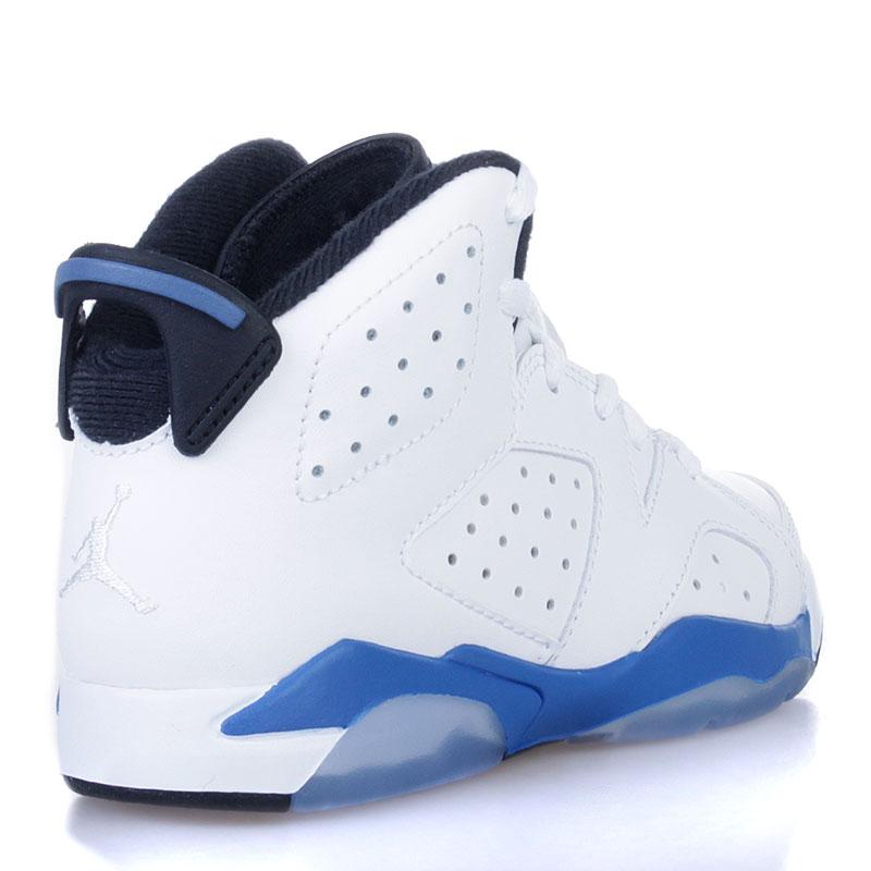 детские белые, черные, голубые  кроссовки jordan 6 retro bp sport blue 384666-107 - цена, описание, фото 2