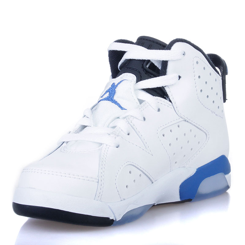 детские белые, черные, голубые  кроссовки jordan 6 retro bp sport blue 384666-107 - цена, описание, фото 3