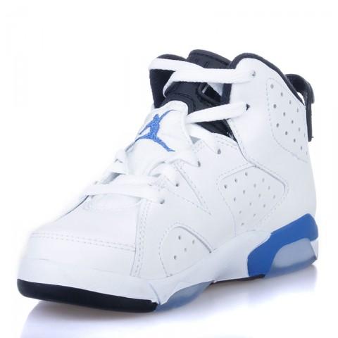 Купить детские белые, черные, голубые  кроссовки jordan 6 retro bp sport blue в магазинах Streetball - изображение 3 картинки