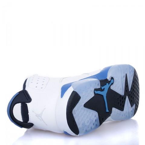 детские белые, черные, голубые  кроссовки jordan 6 retro bp sport blue 384666-107 - цена, описание, фото 4
