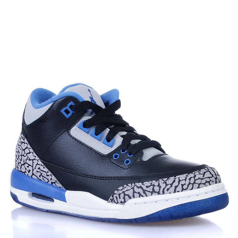 Купить детские черные, белые, синие  кроссовки air jordan 3 retro bg sport blue в магазинах Streetball изображение - 1 картинки
