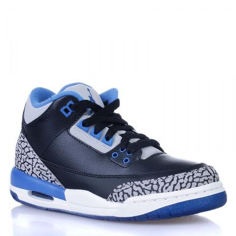 Купить детские черные, белые, синие  кроссовки air jordan 3 retro bg sport blue в магазинах Streetball - изображение 1 картинки