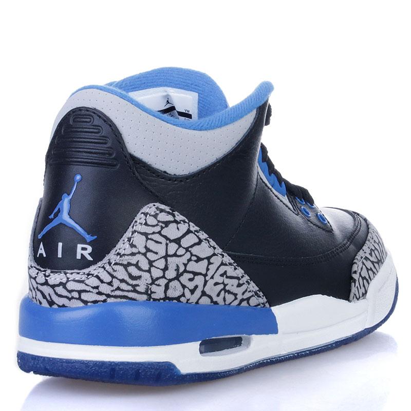 Купить детские черные, белые, синие  кроссовки air jordan 3 retro bg sport blue в магазинах Streetball изображение - 2 картинки