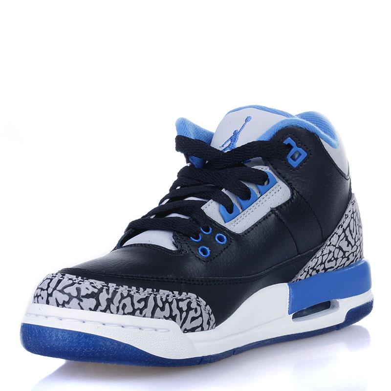 Купить детские черные, белые, синие  кроссовки air jordan 3 retro bg sport blue в магазинах Streetball изображение - 3 картинки