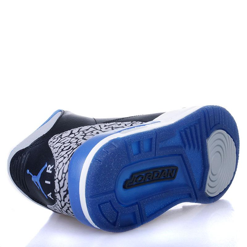 Купить детские черные, белые, синие  кроссовки air jordan 3 retro bg sport blue в магазинах Streetball изображение - 4 картинки