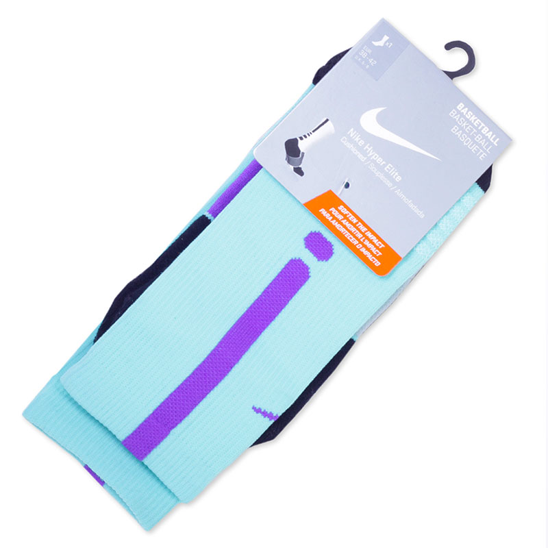 Носки Nike Hyper Elite CrewНоски<br><br><br>Цвет: Голубой, черный, фиолетовый<br>Размеры US: S;L<br>Пол: Мужской