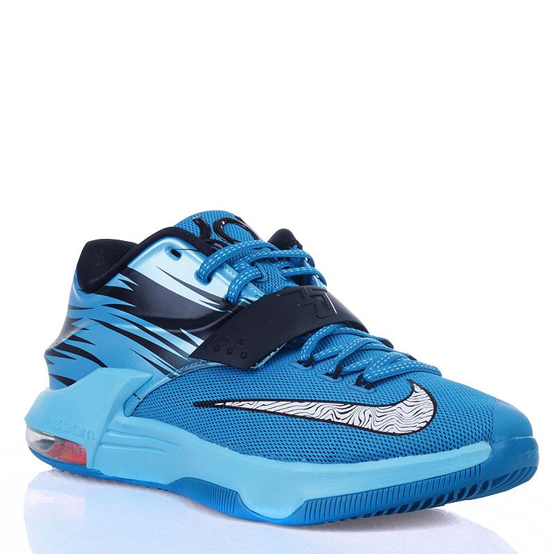 42076628 мужские голубые, черные, белые кроссовки nike kd 7 clearwater 653996-414 -  цена
