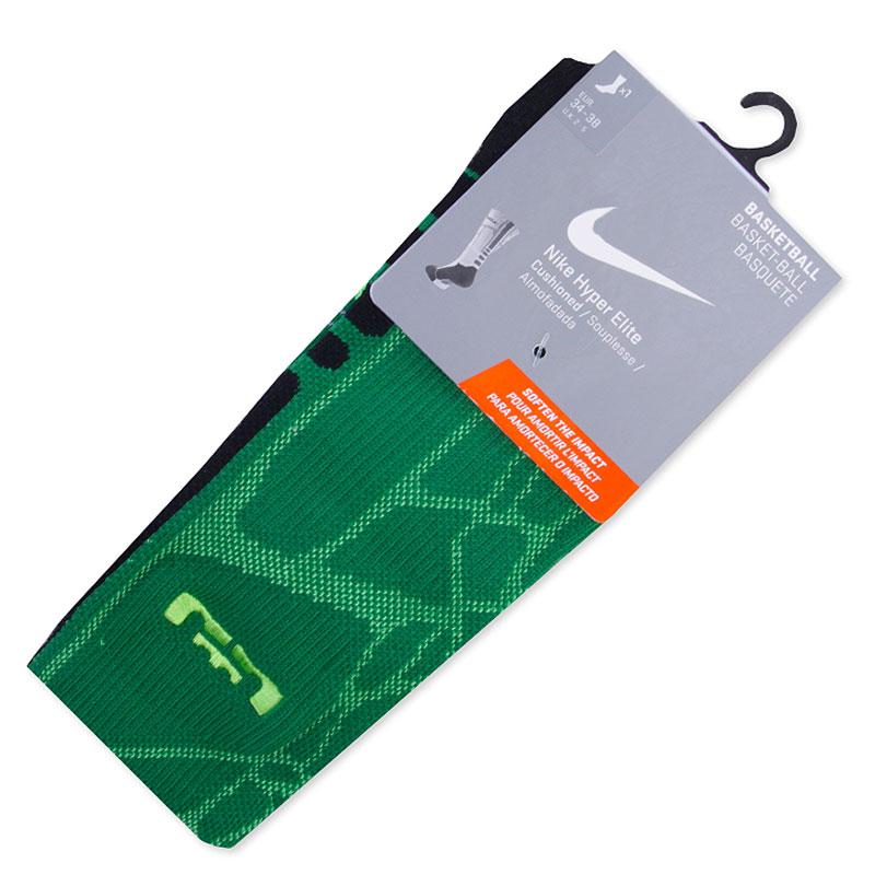 Носки Nike LeBron Hyper Elite Basketball Crew SocksНоски<br><br><br>Цвет: Зеленый<br>Размеры US: S;M<br>Пол: Мужской