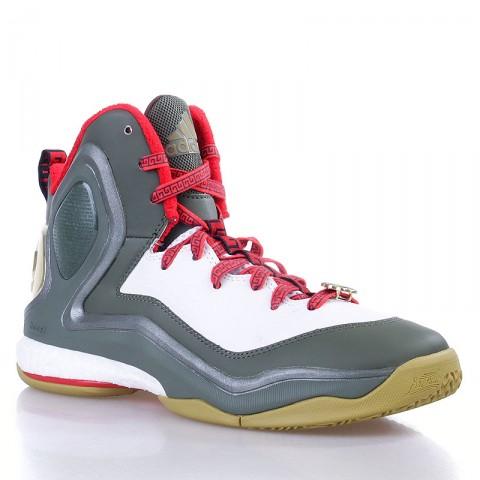 мужские белые,зеленые,красные  кроссовки adidas d rose 5 boost C76493 - цена, описание, фото 1