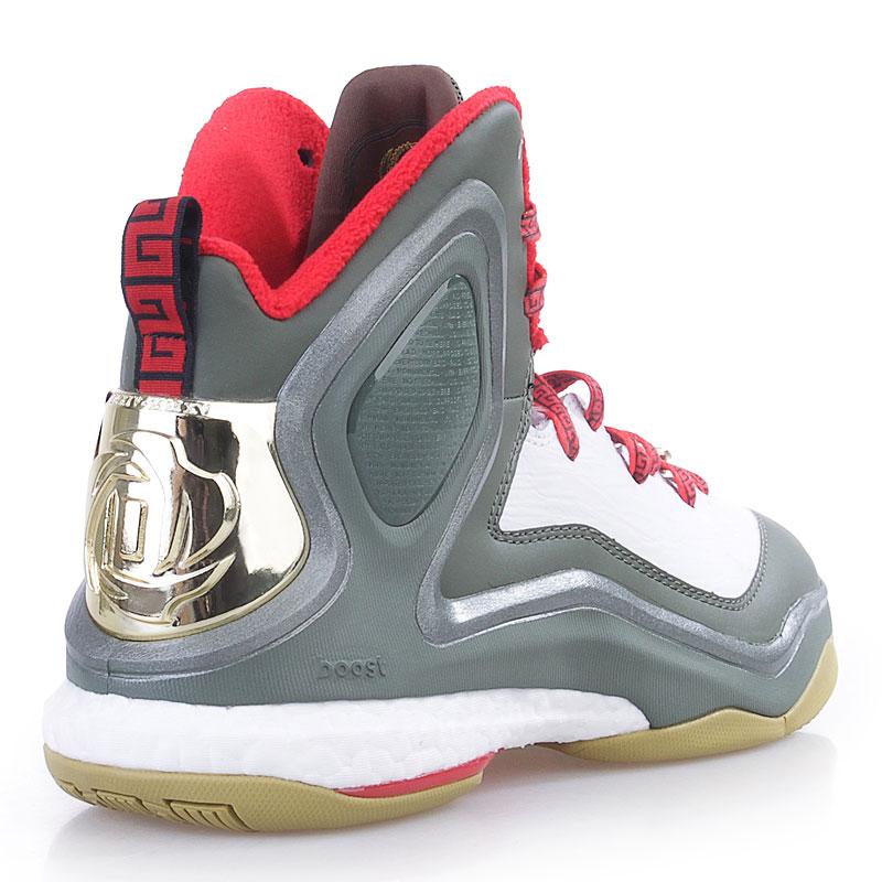 мужские белые,зеленые,красные  кроссовки adidas d rose 5 boost C76493 - цена, описание, фото 2