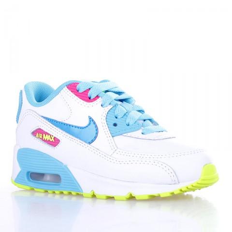 детские белые, голубые, жёлтые  кроссовки nike air max 90 2007 (ps) 345018-123 - цена, описание, фото 1