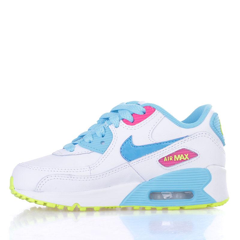 детские белые, голубые, жёлтые  кроссовки nike air max 90 2007 (ps) 345018-123 - цена, описание, фото 3