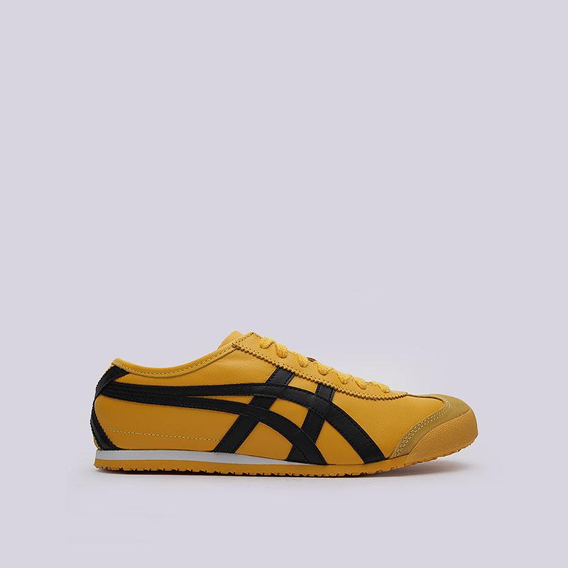 Кроссовки Onitsuka Tiger Mexico 66Кроссовки lifestyle<br>Текстиль, синтетика, кожа<br><br>Цвет: Желтый, чёрный<br>Размеры US: 8;8.5;10.5;11;11.5;12<br>Пол: Мужской