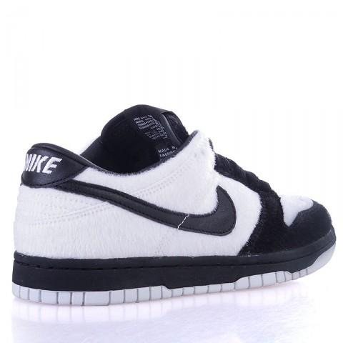 детские черные, белые  кроссовки nike dunk low prm qs bg 747072-101 - цена, описание, фото 2