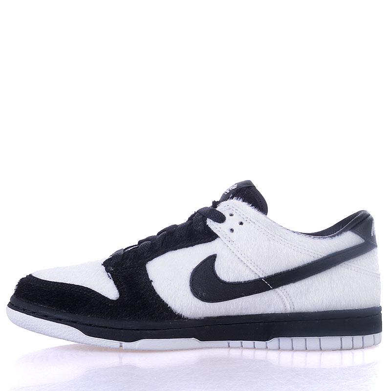 детские черные, белые  кроссовки nike dunk low prm qs bg 747072-101 - цена, описание, фото 3
