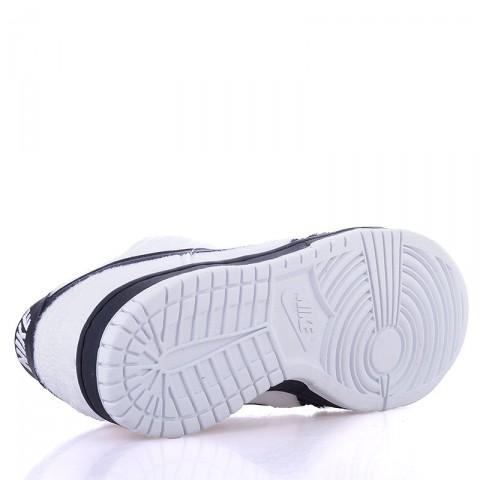 детские черные, белые  кроссовки nike dunk low prm qs bg 747072-101 - цена, описание, фото 4