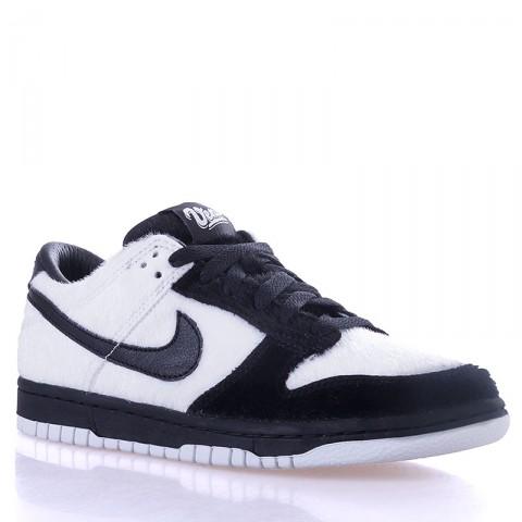 детские черные, белые  кроссовки nike dunk low prm qs bg 747072-101 - цена, описание, фото 1