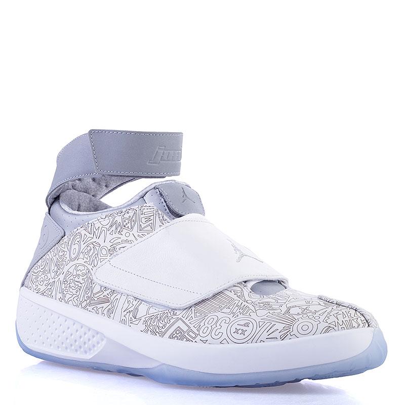 Кроссовки Jordan XX LaserКроссовки lifestyle<br>Кожа, текстиль, синтетика<br><br>Цвет: Белый, серый, голубой<br>Размеры US: 14<br>Пол: Мужской