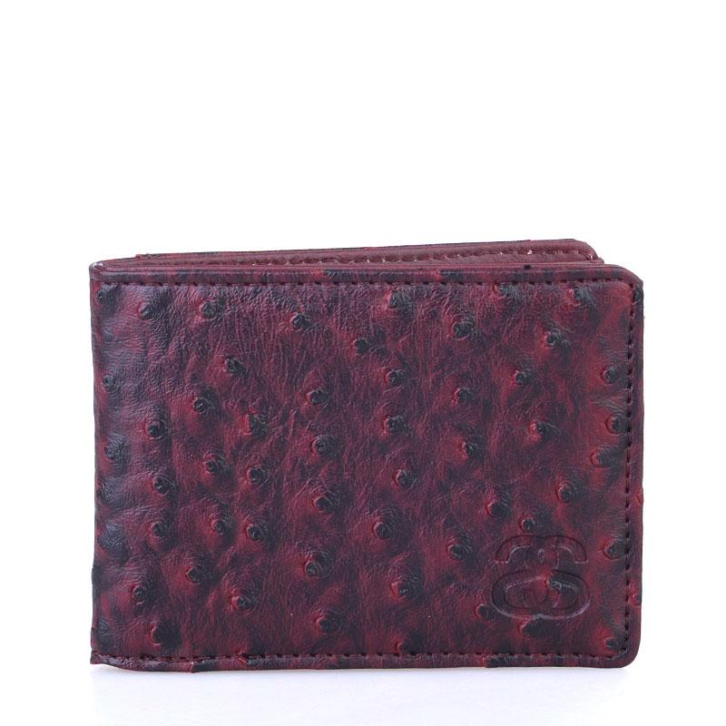 бордовый  бумажник stussy ostrich bi-fold wallet 136110-burgundy - цена, описание, фото 1